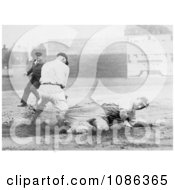 Baseball Umpire Watching A Runner Sliding To Base Before Being Tagged Free Historical Baseball Stock Photography by JVPD