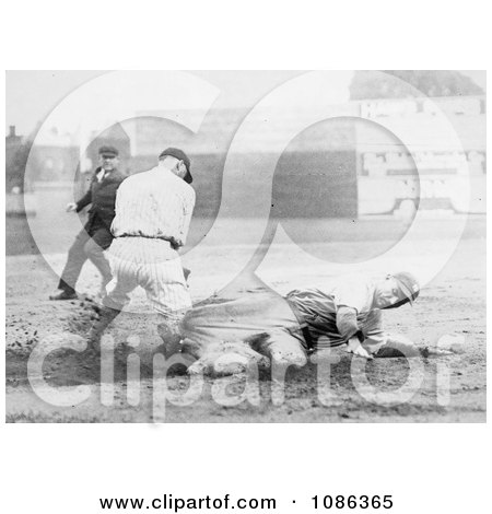 Baseball Umpire Watching a Runner Sliding to Base Before Being Tagged - Free Historical Baseball Stock Photography by JVPD