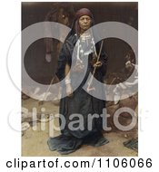 Bedouin Woman Holding A Pipe Royalty Free Historical Stock Photo
