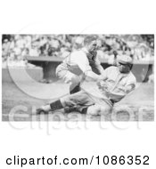 Bing Miller Being Tagged Out At Home Plate By Muddy Ruel During A Baseball Game In 1925 Free Historical Baseball Stock Photography by JVPD