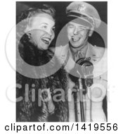 Black And White Historical Stock Photo Of Ronald Reagan Standing Beside Jane Wyman At A Microphone 1943 by JVPD
