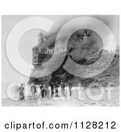 Black And White People On The Beach Near The Cliff House As It Burns Down In 1907 Royalty Free Historical Stock Photo by JVPD