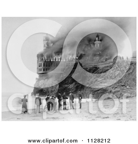Black And White People On The Beach Near The Cliff House As It Burns Down In 1907 - Royalty Free Historical Stock Photo by JVPD
