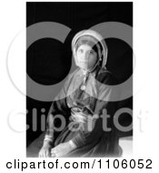 Black And White Portrait Of A Seated Ramallah Woman Royalty Free Historical Stock Photo
