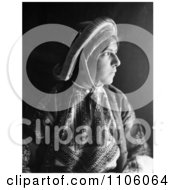 Black And White Profile Portrait Of A Ramallah Woman Wearing A Dowry Coin Headdress Royalty Free Historical Stock Photo by JVPD