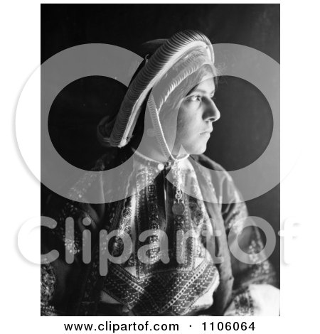 Black And White Profile Portrait Of A Ramallah Woman Wearing A Dowry Coin Headdress - Royalty Free Historical Stock Photo by JVPD