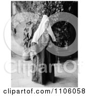 Black And White Ramallah Woman Dressed In A Dowry Necklace Royalty Free Historical Stock Photo