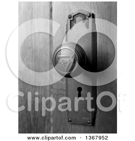 Black and White Royalty Free Stock Photograph of a YWCA Door Knob and Keyhole at the Young Women's Christian Association by JVPD
