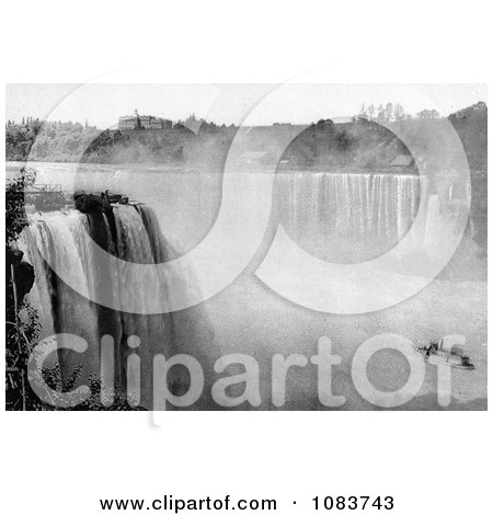 Black And White Scene Of The Maid Of The Mist Under Horseshoe Falls From Goat Island - Royalty Free Historical Stock Photography by JVPD