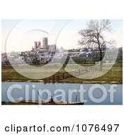 Boat On The Water With A View Of The St MaryS Cathedral In Lincoln Lincolnshire England Royalty Free Stock Photography