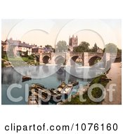 Boats Near The Medieval Bridge On The River Wye Waterfront Buildings And The Hereford Cathedral In Hereford West Midlands England UK Royalty Free Stock Photography