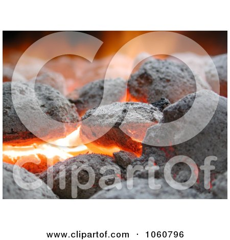 Burning Charcoal Briquettes - Royalty Free Stock Photo by Kenny G Adams