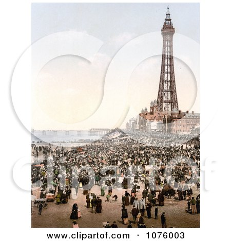 Busy Beach, North Pier and Royal Hotel Near the Tower in Blackpool, Lancashire, England - Royalty Free Stock Photography  by JVPD