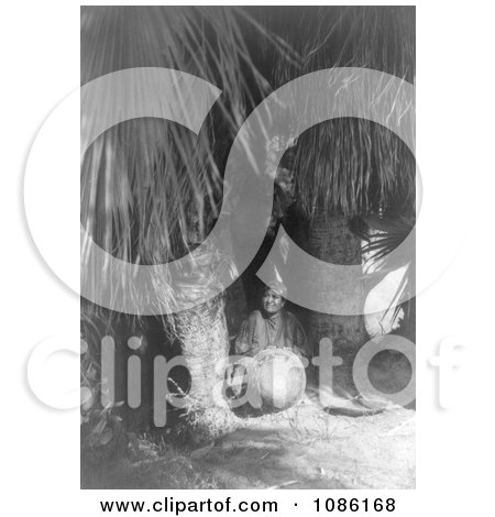 Cahuilla Woman Under Palms - Free Historical Stock Photography by JVPD