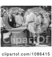 Calvin Coolidge Shaking Hands With Walter Johnson Free Historical Baseball Stock Photography by JVPD