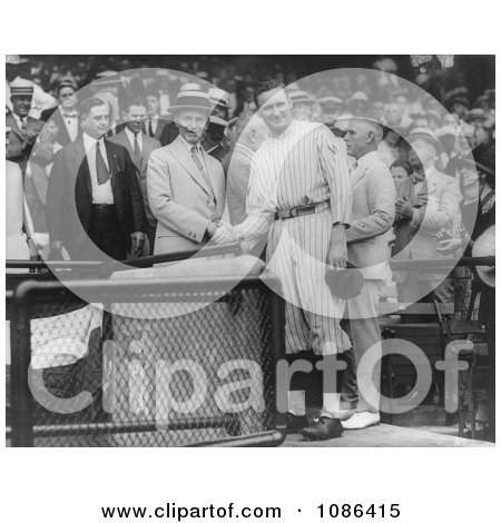 Calvin Coolidge Shaking Hands with Walter Johnson - Free Historical Baseball Stock Photography by JVPD