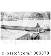Celilo Native With Canoe Free Historical Stock Photography