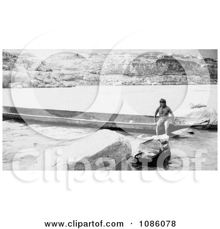 Celilo Native With Canoe - Free Historical Stock Photography by JVPD