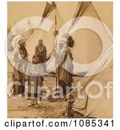 Cheyenne Indian Families Near Tipis Free Historical Stock Photography