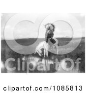Cheyenne Native On A White Horse Free Historical Stock Photography