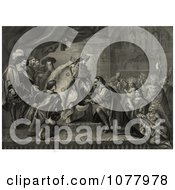 Christopher Columbus Kneeling In Front Of King Ferdinand And Queen Isabella Of Spain As Natives And Other People Watch During A Reception After His First Return From America Royalty Free Historical Clip Art