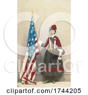 Civil War Vivandiere Woman With Canteen And American Flag