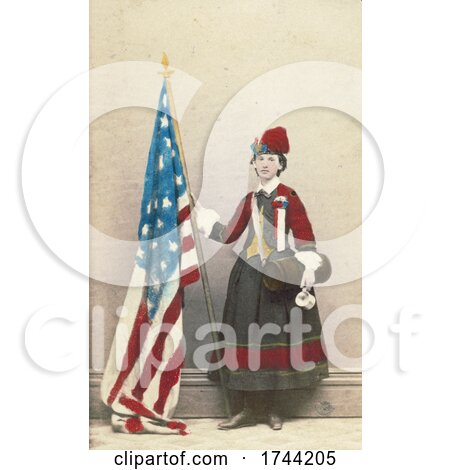Civil War Vivandiere Woman with Canteen and American Flag by JVPD