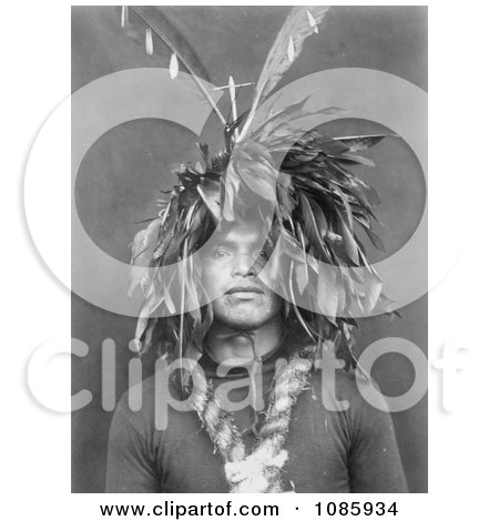 Cowichan Wearing Feathered Head Dress - Free Historical Stock Photography by JVPD
