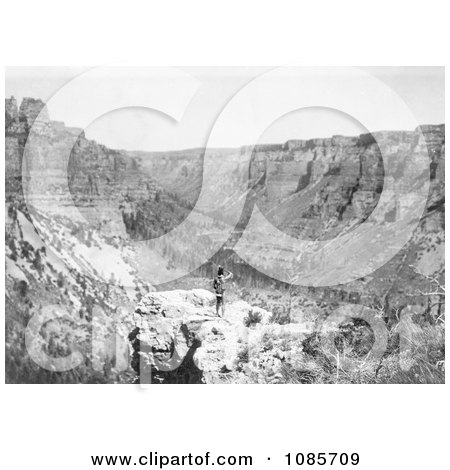 Crow Indian Looking Over Black Canyon - Free Historical Stock Photography by JVPD