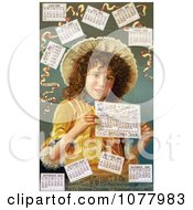 Curly Haired Girl Surrounded By Calendars In 1889 Royalty Free Historical Clip Art