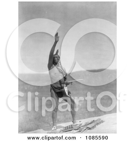 Dakota Indian Man With Arm Towards Sky - Free Historical Stock Photography by JVPD