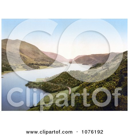 Deserted Waterfront Road Winding Around the Banks of the Thirlmere Reservoir Near Helvellyn Mountain in Lake District Cumbria England UK - Royalty Free Stock Photography  by JVPD