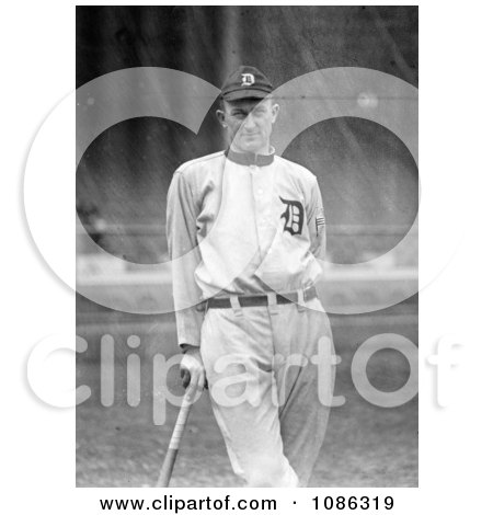 """Detroit Tigers Baseball Player, Ty Cobb, Nick Named """"The Georgia Peach,"""" Leaning Against A Bat - Free Historical Baseball Stock Photography by JVPD"""