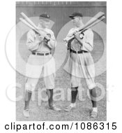 Detroit Tigers Baseball Player Ty Cobb Standing And Holding Bats With Shoeless Joe Joe Jackson Of The Cleveland Naps Free Historical Baseball Stock Photography by JVPD