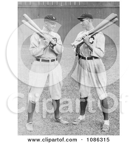 Detroit Tigers Baseball Player, Ty Cobb, Standing And Holding Bats With Shoeless Joe, Joe Jackson, Of The Cleveland Naps - Free Historical Baseball Stock Photography by JVPD