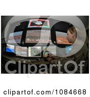 Female Soldier Using A Security System Free Stock Photography