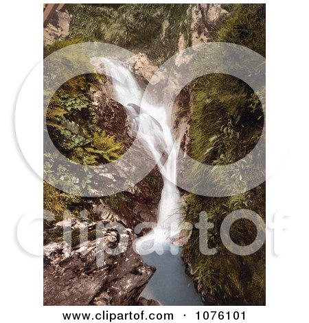 Ferns and Green Foliage Growing on Cliff Walls Around a the Upper Falls Waterfall in the Sulby Glen in Ramsey Isle of Man England - Royalty Free Stock Photography  by JVPD