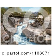 Footbridge Over The Upper Falls Of The Ammonoosuc River In The White Mountains Of New Hampsire Royalty Free Historical Stock Photo by JVPD
