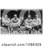 Four Baseball Players Babe Ruth Ernie Shore Rube Foster And Del Gainer Of The Boston Red Sox Sitting Together Free Historical Baseball Stock Photography by JVPD