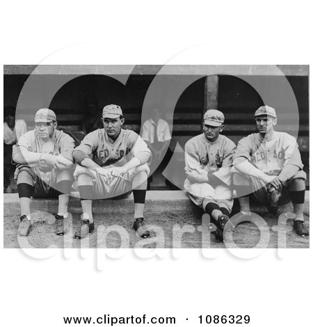 Four Baseball Players, Babe Ruth, Ernie Shore, Rube Foster, And Del Gainer Of The Boston Red Sox, Sitting Together - Free Historical Baseball Stock Photography by JVPD