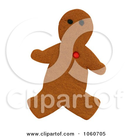Gingerbread Man With Red Heart - Royalty Free Stock Photo by Kenny G Adams