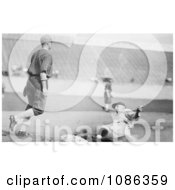 Goose Goslin Sliding To Third Base During A Baseball Game In 1925 Free Historical Baseball Stock Photography by JVPD