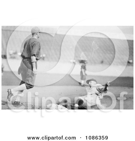 Goose Goslin Sliding to Third Base During a Baseball Game in 1925 - Free Historical Baseball Stock Photography by JVPD