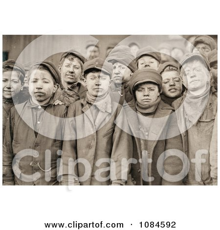 Group Of Exhausted And Dirty Coal Miner Boys Posing For A Portrait In 1911 - Free Historical Stock Photography Photography by JVPD
