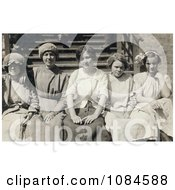 Group Of Five Young Mill Worker Girls Taking A Break In 1913 Free Historical Stock Photography Photography by JVPD