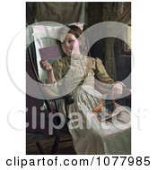 Happy Girl Sitting In A Rocking Chair And Looking At Photographs Royalty Free Historical Clip Art