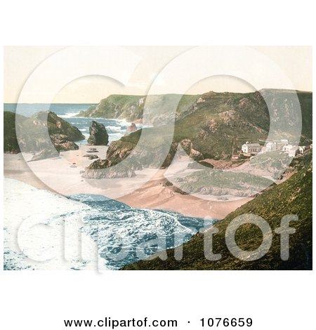 Historical Beachfront Buildings at Kynance Cove in Cornwall, England, United Kingdom - Royalty Free Stock Photography  by JVPD