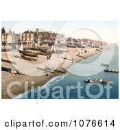 Historical Boats On The Shore And Buildings Along The Waterfront At Deal Kent England Royalty Free Stock Photography