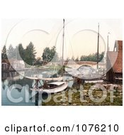 Historical Boats On The Water Near The Bridge In Wroxham Norfolk England UK Royalty Free Stock Photography