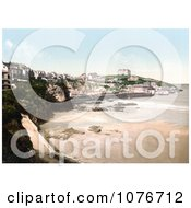 Historical Buildings On The Cliffs Above The Beach In Newquay Cornwall England United Kingdom Royalty Free Stock Photography